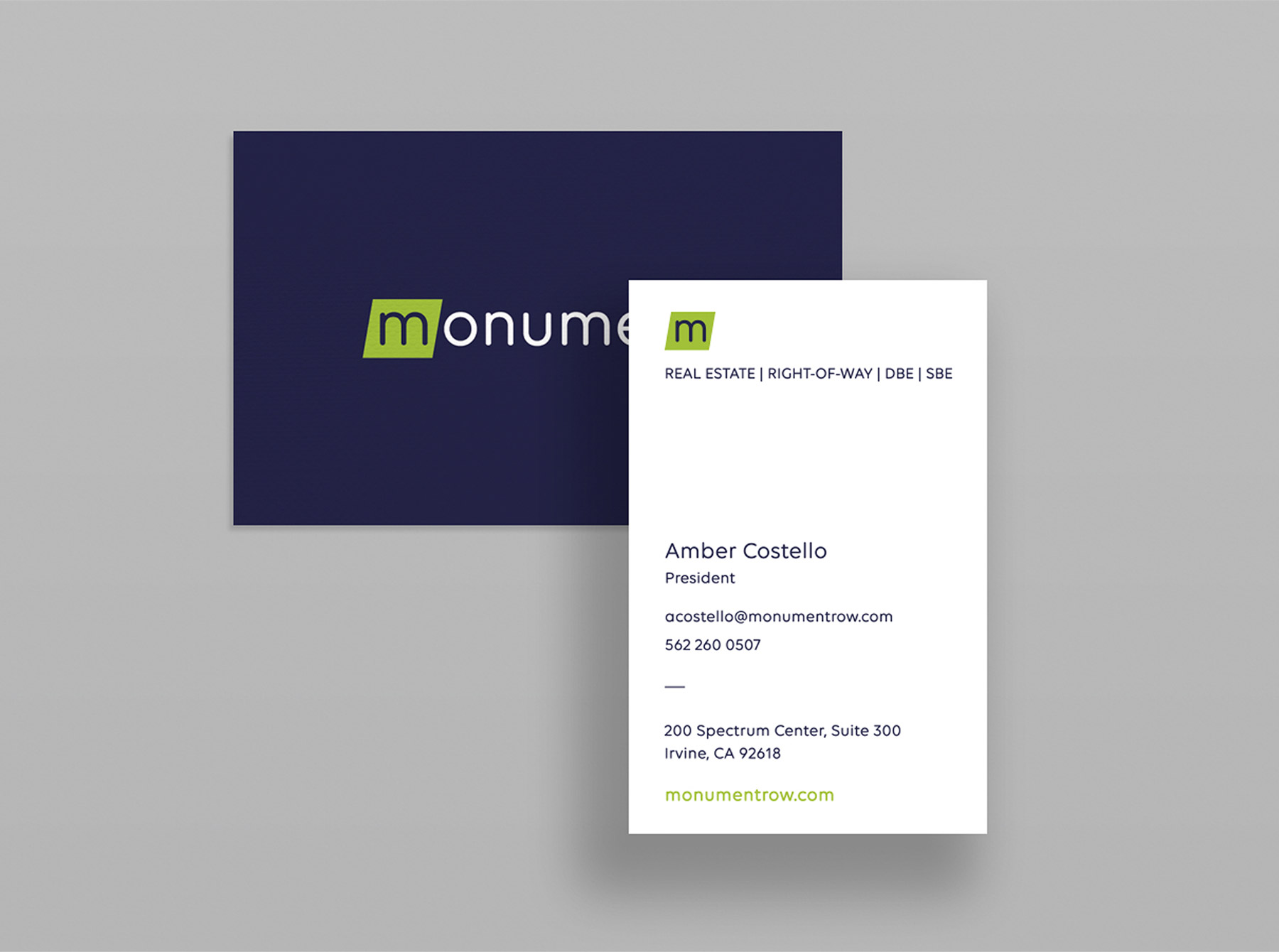 Monument business card
